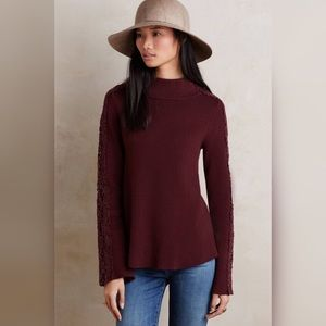 Anthropologie Laced Funnel Neck Pullover